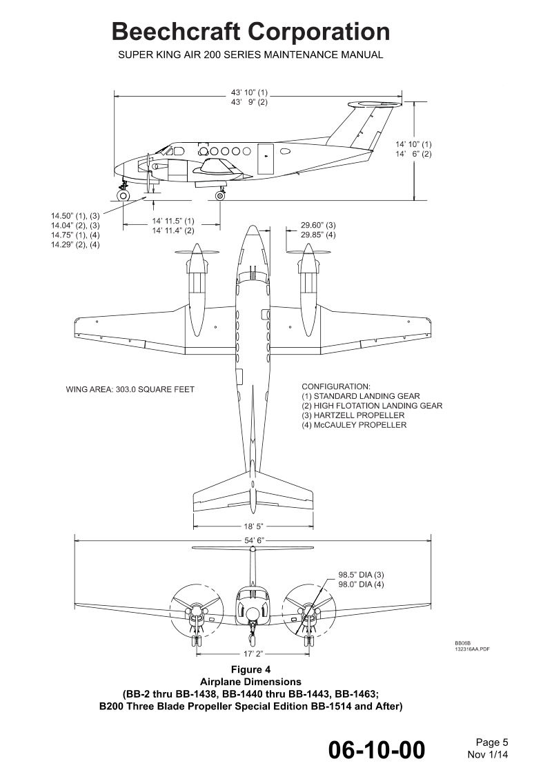 King Air B200 technical Diagram